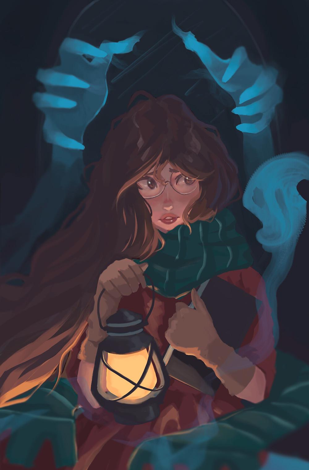 A imagem mostra a protagonista Ophélie, uma jovem de cabelos castanhos compridos, pele clara e óculos grandes segurando um lampião e um livro. Duas mãos azuis, de aparência fantasmagórica, se erguem por trás da jovem, saindo de um espelho.