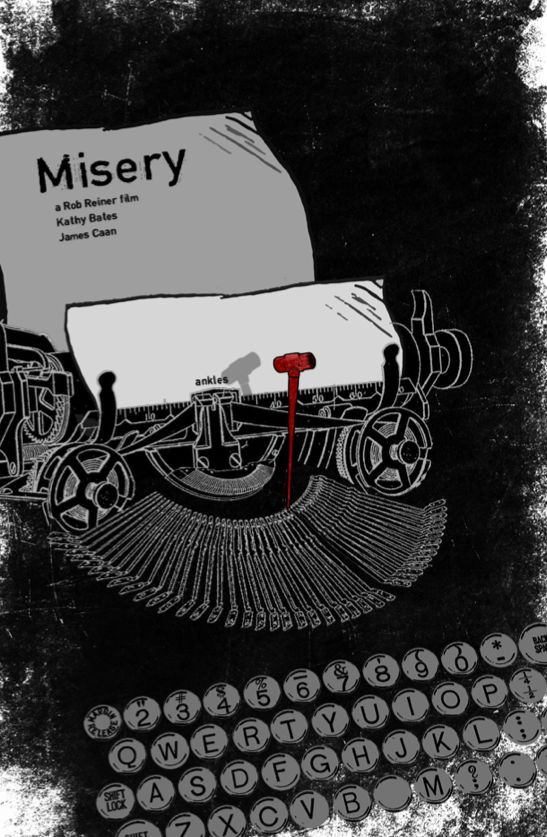 """Ilustração da máquina de escrever e uma folha de papel onde se lê: """"Misery, a Robert Reiner film, Kathy Bates, James Caan"""""""