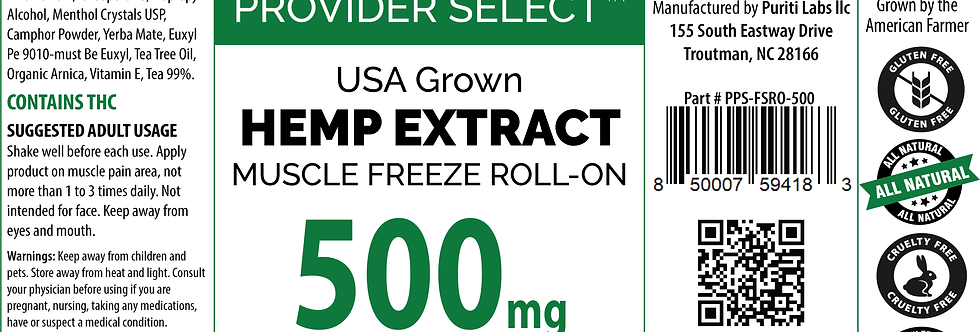 Hemp Extract CBD Full Spectrum, Muscle Freeze Roll-On 500mg, 3oz