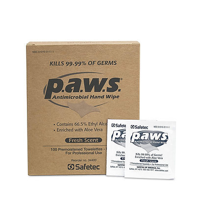 PAWS Hand Antimicrobial Towelette 100 count