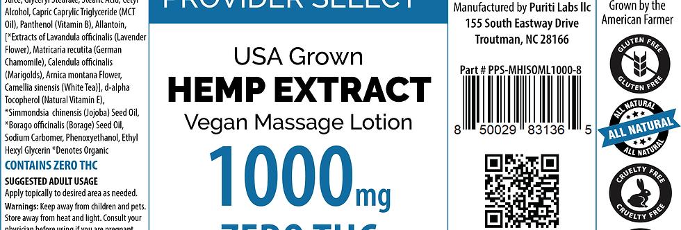 Hemp Extract CBD Massage Lotion, Vegan, THC Free, 1000mg, 8oz
