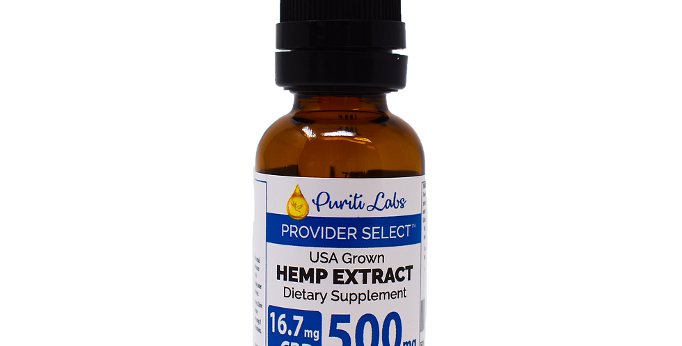 Hemp Extract CBD THC Free Medium-Low Dosage 500mg, Natural, 30mL