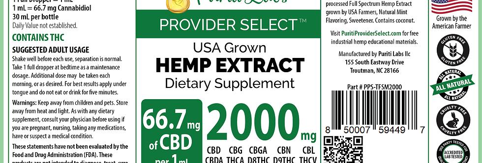 Hemp Extract CBD Tincture Full Spectrum High Dosage 2000mg, Mint, 30mL