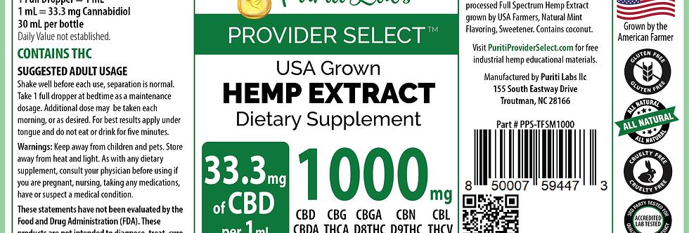 Hemp Extract CBD Tincture Full Spectrum Medium-High Dosage 1000mg, Mint, 30mL