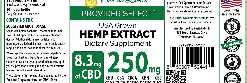 Hemp Extract CBD Tincture Full Spectrum Low Dosage 250mg, Mint, 30mL