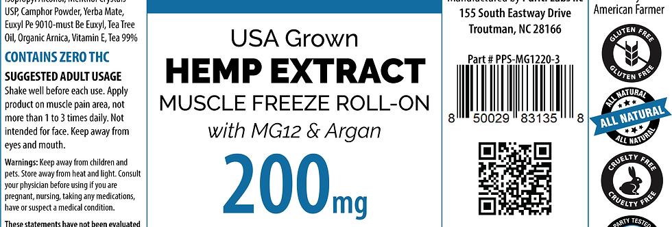 Hemp Extract CBD Muscle Freeze Roll-On w/MG12, Argan, THC Free, 200mg, 3oz
