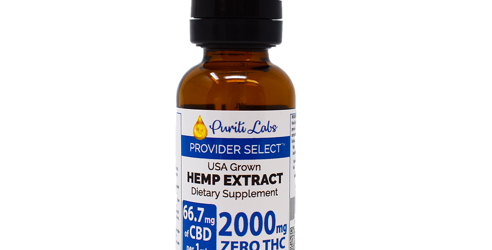 Hemp Extract CBD THC Free High Dosage 2000mg, Natural, 30mL