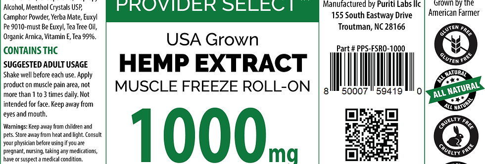 Hemp Extract CBD  Muscle Freeze Roll-On, Full Spectrum, 1000mg, 3oz