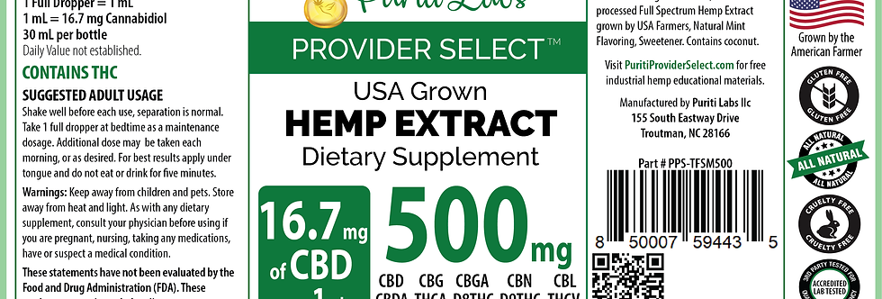 Hemp Extract CBD Tincture Full Spectrum Medium-Low Dosage 500mg Mint, 30mL