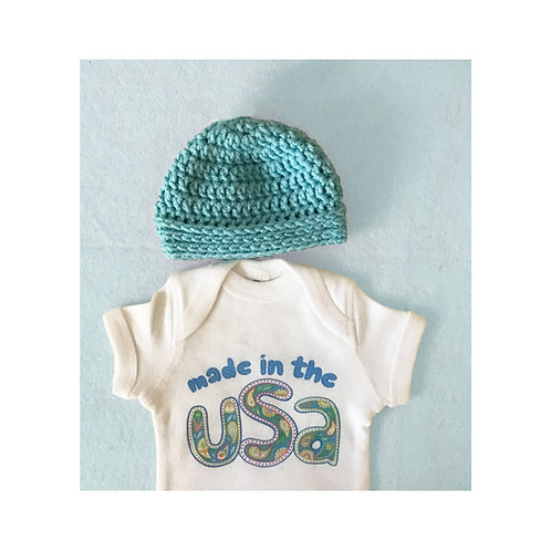 Made in the USA Baby Onesie & Crocheted Beanie