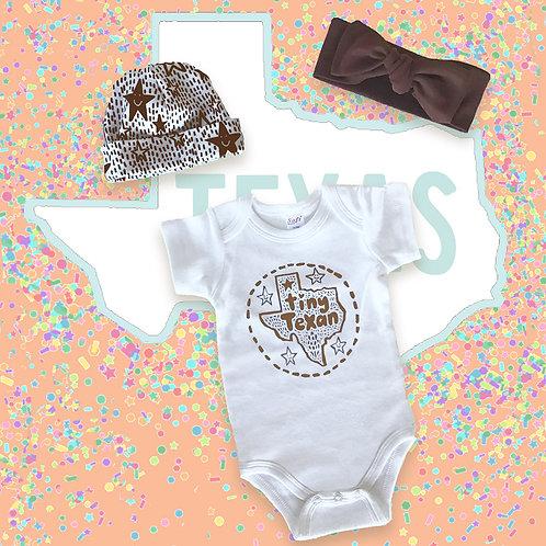 Tiny Texan Onesie with Beanie or Headband