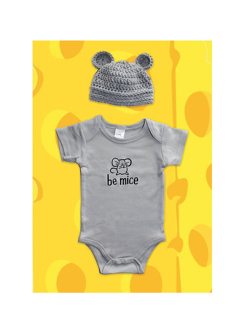 Be Mice Onesie with Crocheted Beanie