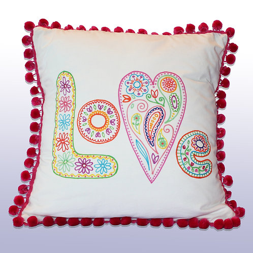 LOVE Pillow with Pink Pompoms & Fleece Back