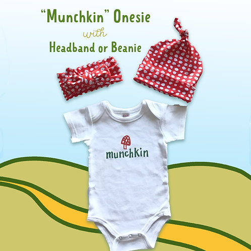 """Munchkin"" Onesie with Beanie or Headband"