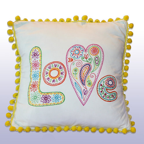 LOVE Pillow with Yellow Pompoms