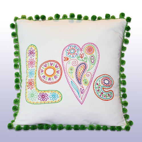 LOVE Pillow with Green Pompoms