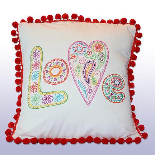 LOVE Pillow with Orange Pompoms