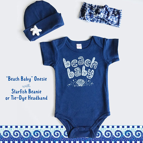 Beach Baby Onesie with Beanie or Headband