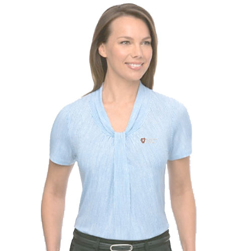 Ladies Short Sleeve Blouse - Blue/White SEE ONLY ONE SIZE NOW AVAILABLE
