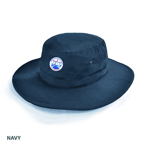Navy Slouch Hat with Embroidery
