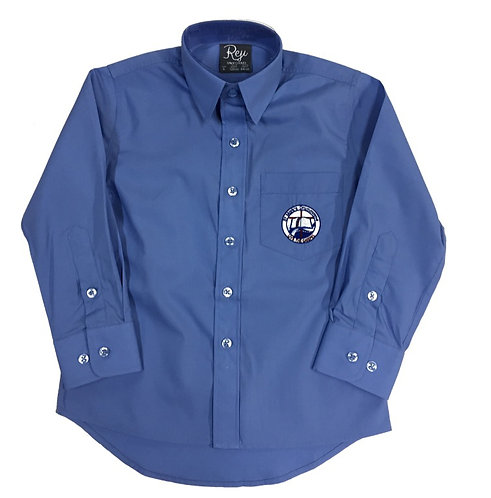 Boys Long Sleeve School Blue Shirt with Logo