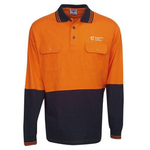 Hi Vis Cotton Long Sleeve Polo