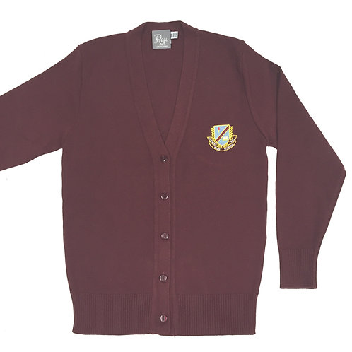 Knit Crested Cardigan - Maroon