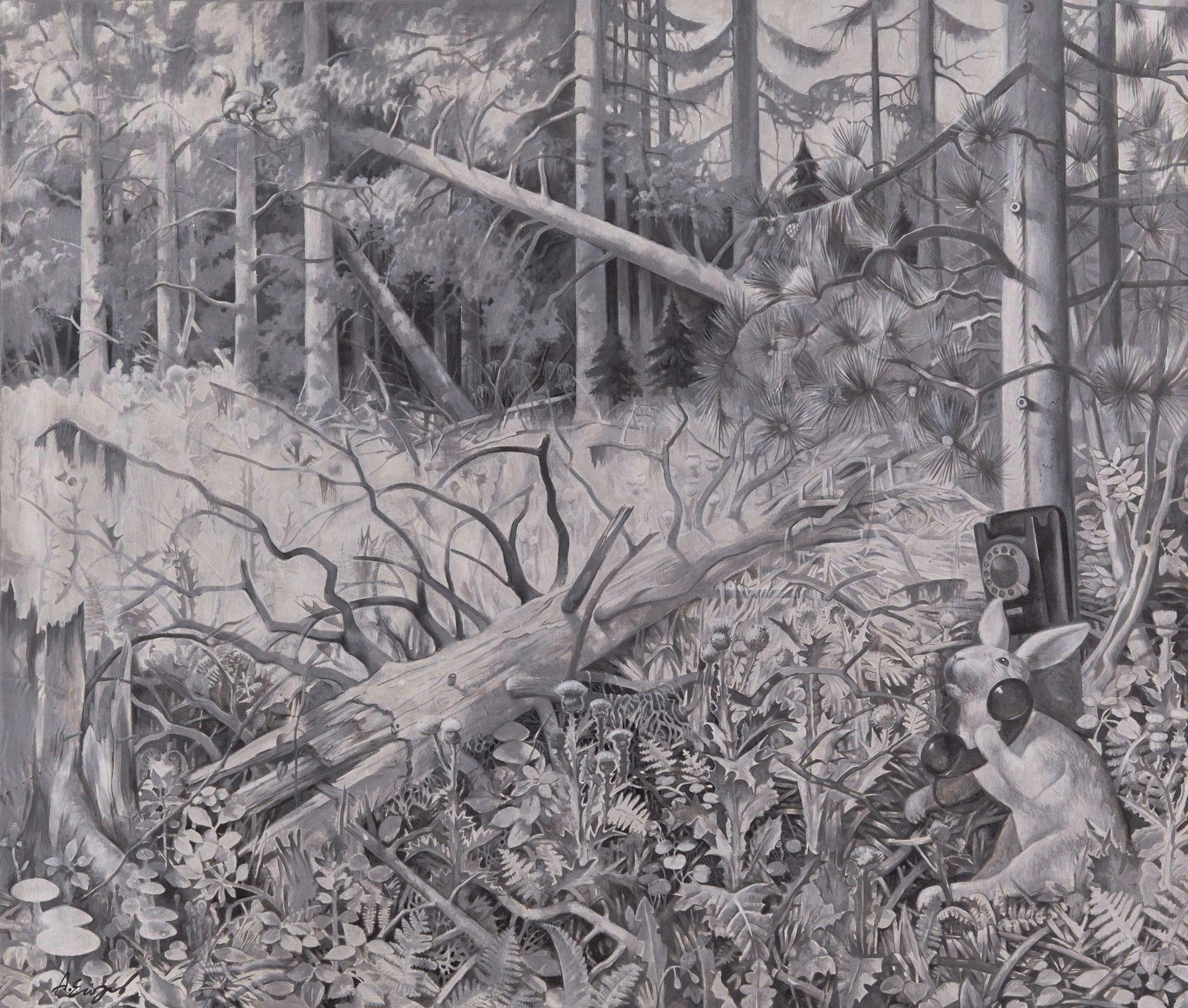 в лесу 120х140 холст акрил 2015