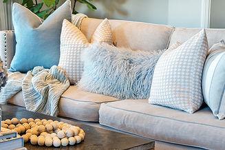 Soft furnishings in coastal styled room.