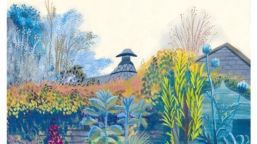 Blue garden archival print