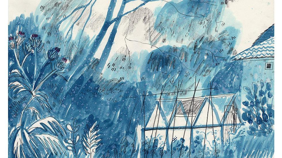 Blue rain print