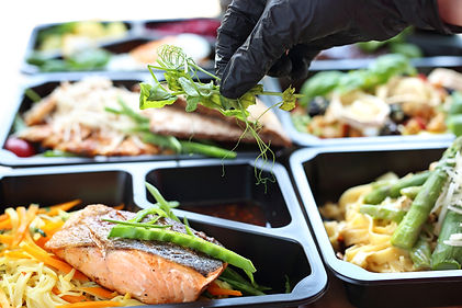 Meal prep. Appetizing lunch boxes. A bal
