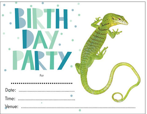 Birthday party invite - Nature 4 You, Emerald Tree Monitor
