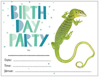 Emerald Tree Monitor, Goanna, reptile themed birthday party, birthday party, birthday party invitations, Nature For You