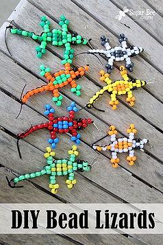 beaded lizards, bead crafts, reptile bead craft, reptile bead activities for kids, lizard craft activities for kids, Nature For You