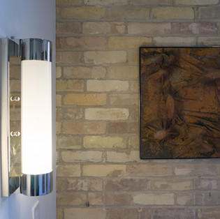 "20 3/4""h x 20 3/4""w x 3""d Abstract | wood, steel, canvas, foam, metal paint, coffee, salt  $1,100"
