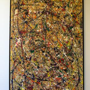 "58 3/4""h x 34""w x 2 1/2""d Abstract | muslin, steel, tempera paint   $3,500"