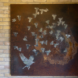 """48""""h x 48""""w x 2 1/4""""d bird with missiles 