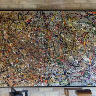 "44 3/4""h x 68 1/2""w x 2 1/2""d abstract | muslin, steel, tempera paint   $6,500"