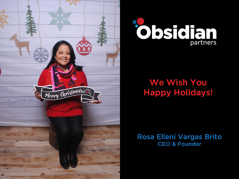 Picture of Obsidian Partners LLC CEO wishing happy holidays