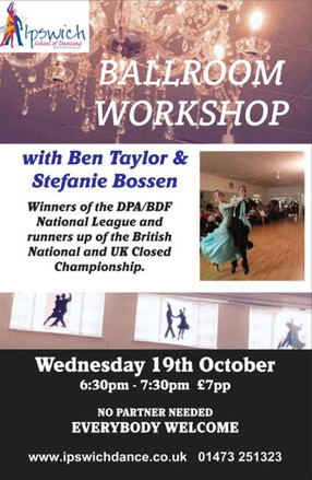 Come and join us for a Ballroom Workshop this Wednesday 19th October with National League winners Be