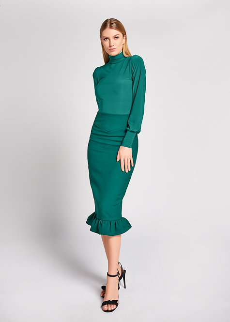 bottle green skirt