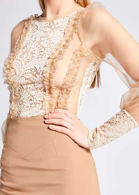 nude lace blouse