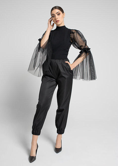 Black Pants with a Sporty Design