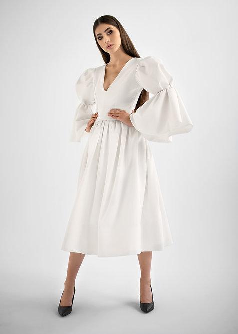 Sukienka Biała z Bufką