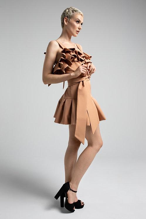 Sukienka Nude Mini z Falbaną