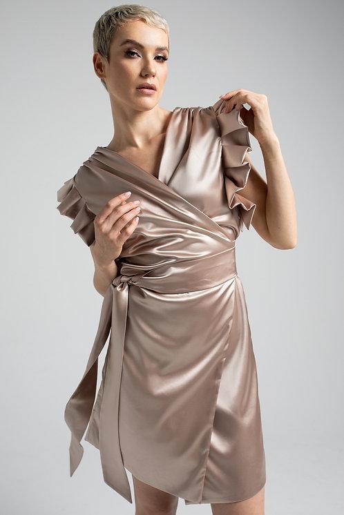 Sukienka Kopertowa z Satyny