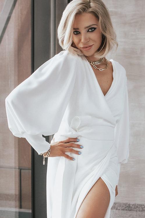 Kopertowa Biała Sukienka z Wiązaniem