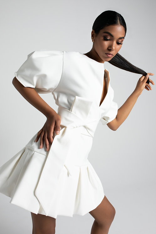 Sukienka Biała Mini z Bufką