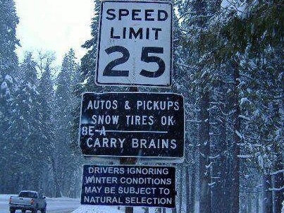 Brains Required, Especially In Chain Control Areas - Winter Driving Tips